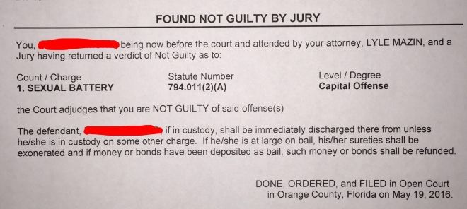Found Not Guilty By Jury